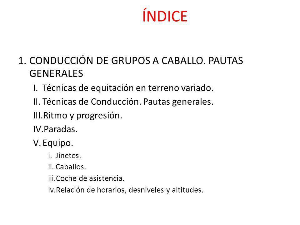 ÍNDICE CONDUCCIÓN DE GRUPOS A CABALLO. PAUTAS GENERALES