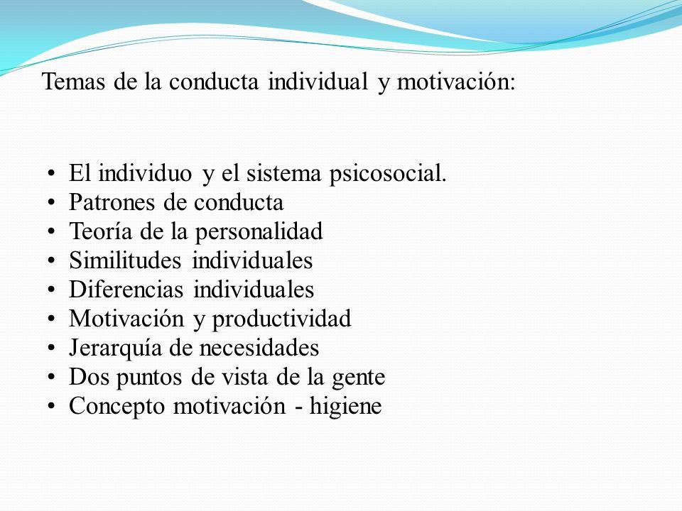 Temas de la conducta individual y motivación: