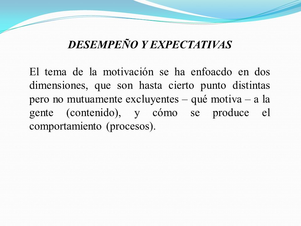 DESEMPEÑO Y EXPECTATIVAS