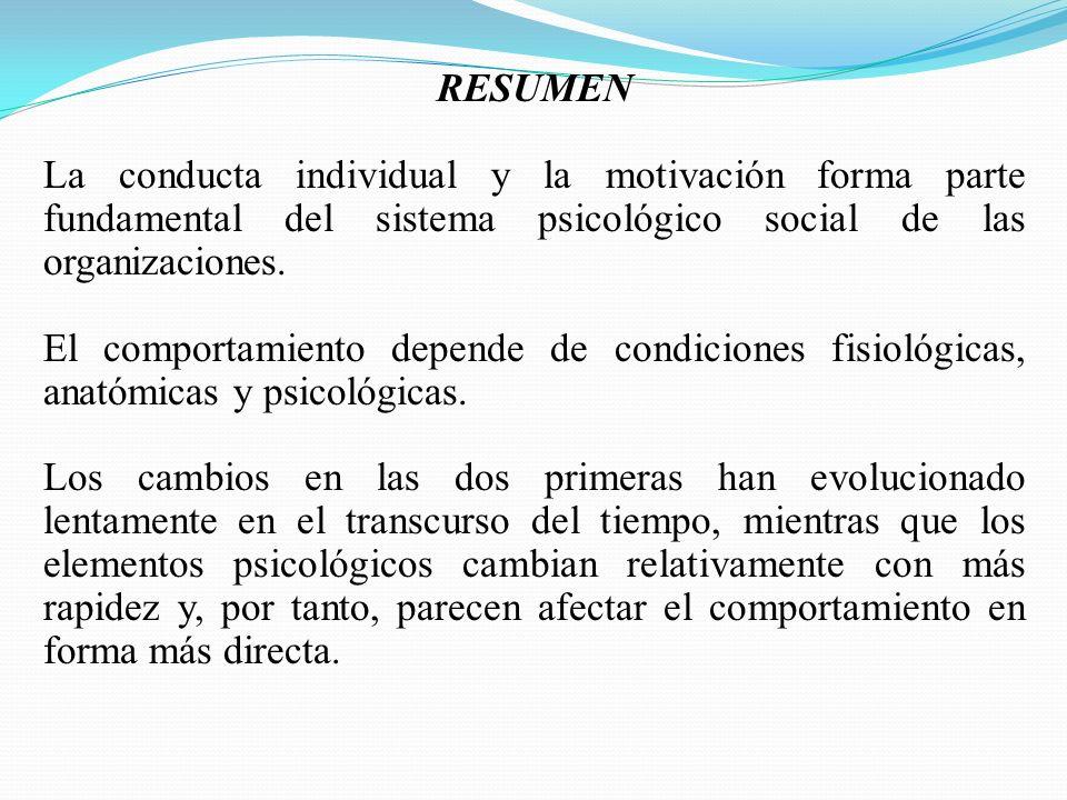 RESUMEN La conducta individual y la motivación forma parte fundamental del sistema psicológico social de las organizaciones.