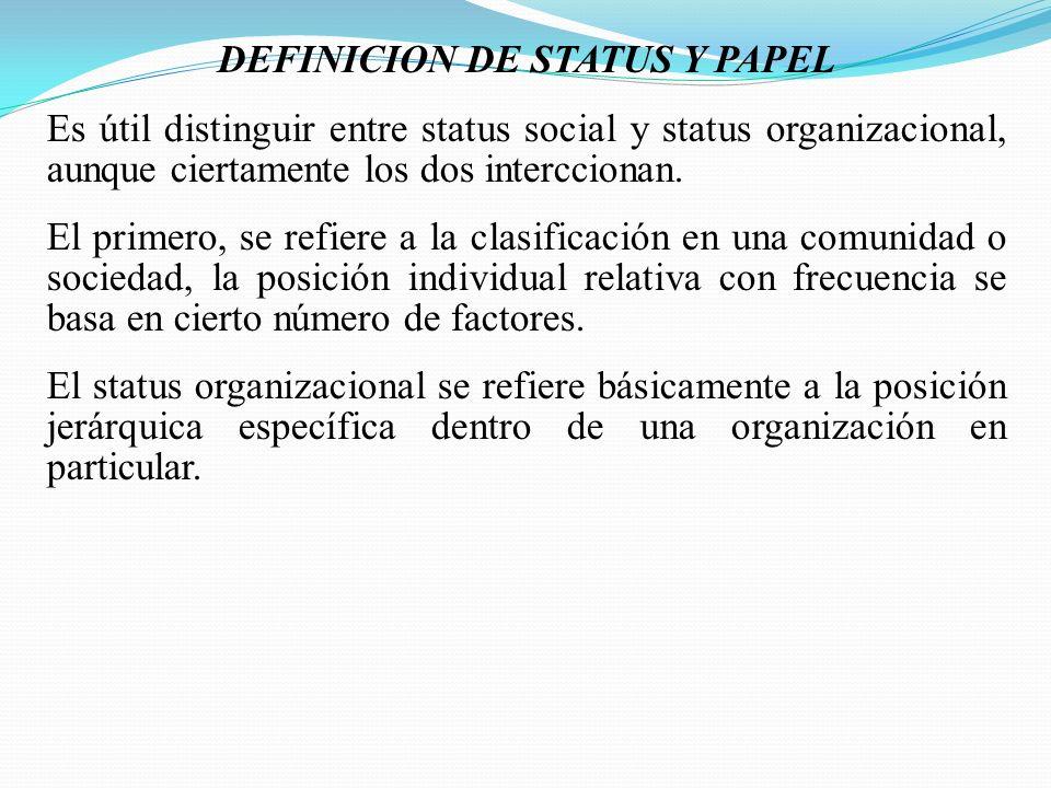 DEFINICION DE STATUS Y PAPEL