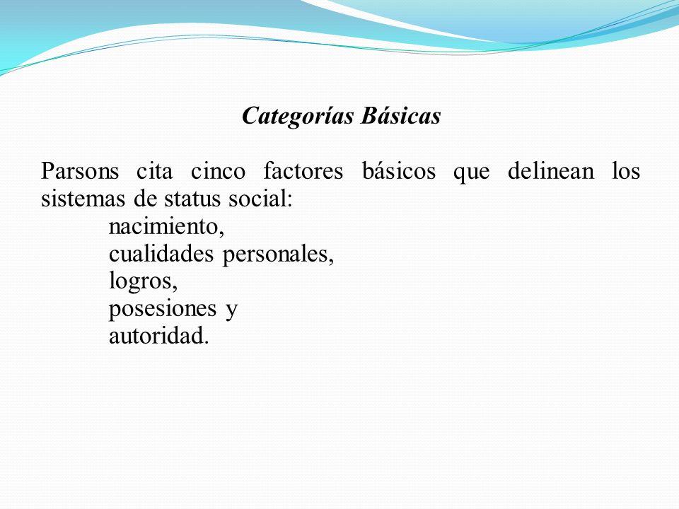 Categorías Básicas Parsons cita cinco factores básicos que delinean los sistemas de status social: nacimiento,