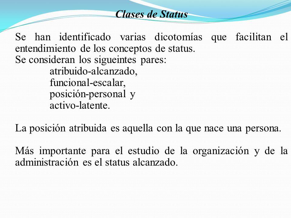 Clases de Status Se han identificado varias dicotomías que facilitan el entendimiento de los conceptos de status.