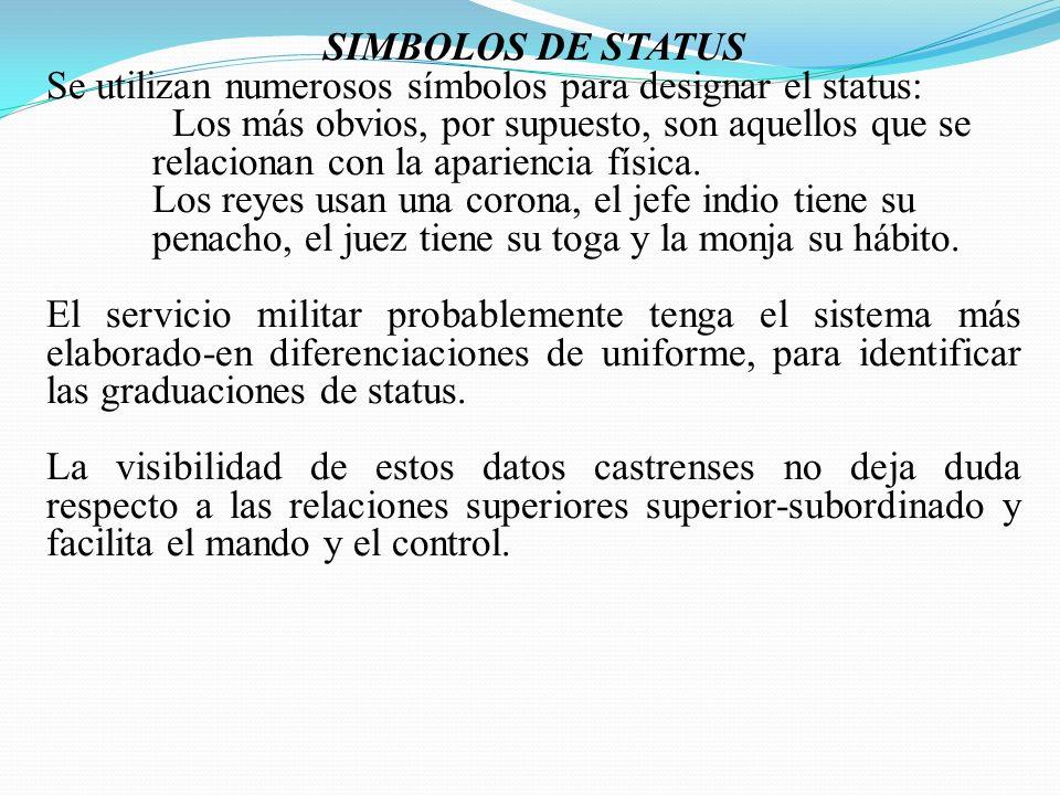 SIMBOLOS DE STATUS Se utilizan numerosos símbolos para designar el status: