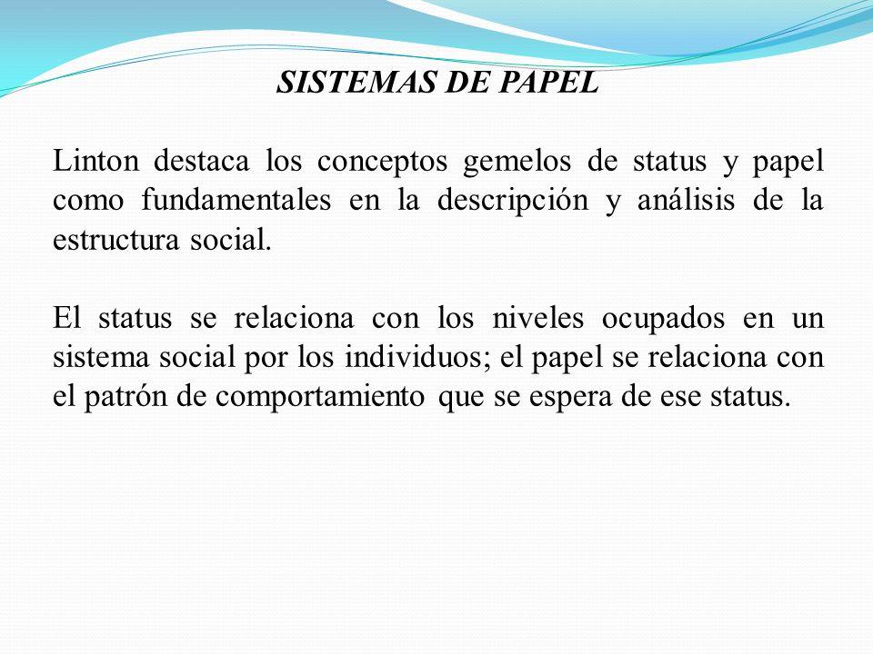 SISTEMAS DE PAPEL Linton destaca los conceptos gemelos de status y papel como fundamentales en la descripción y análisis de la estructura social.