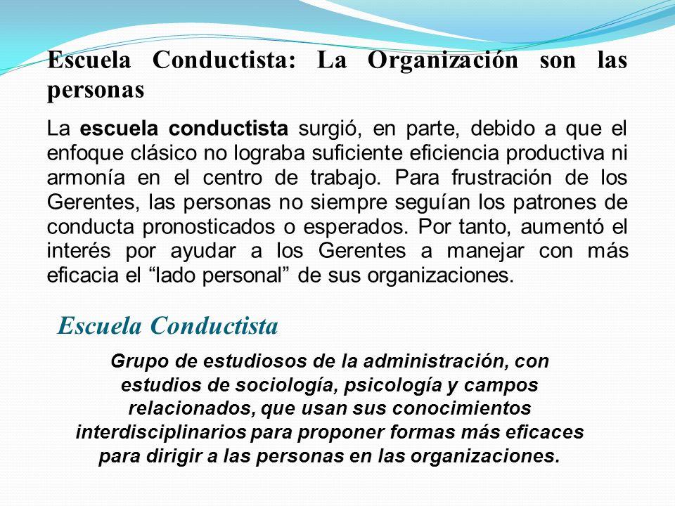 Escuela Conductista: La Organización son las personas