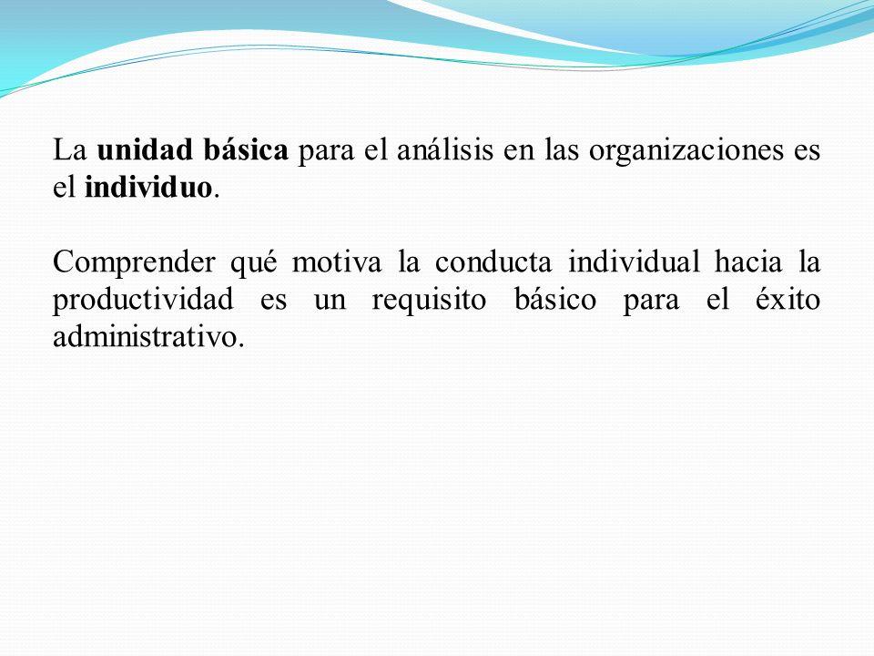 La unidad básica para el análisis en las organizaciones es el individuo.