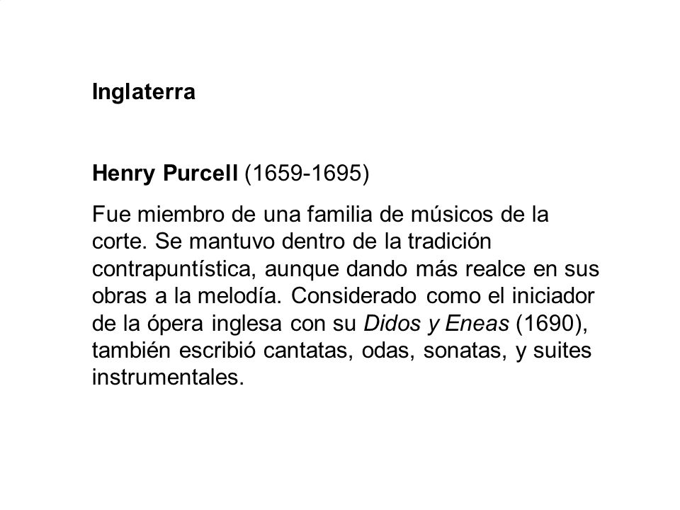 Inglaterra Henry Purcell (1659-1695)