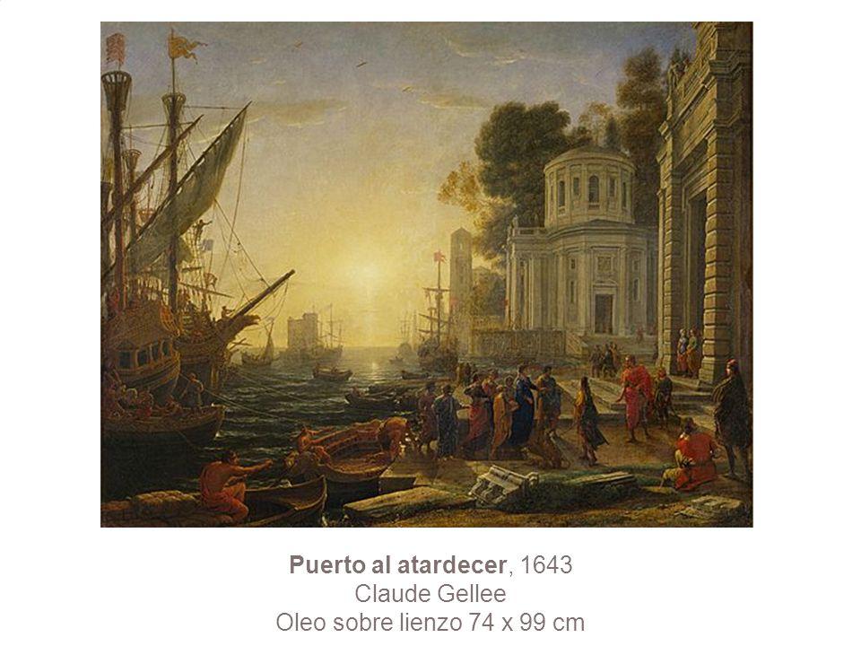 Puerto al atardecer, 1643 Claude Gellee Oleo sobre lienzo 74 x 99 cm