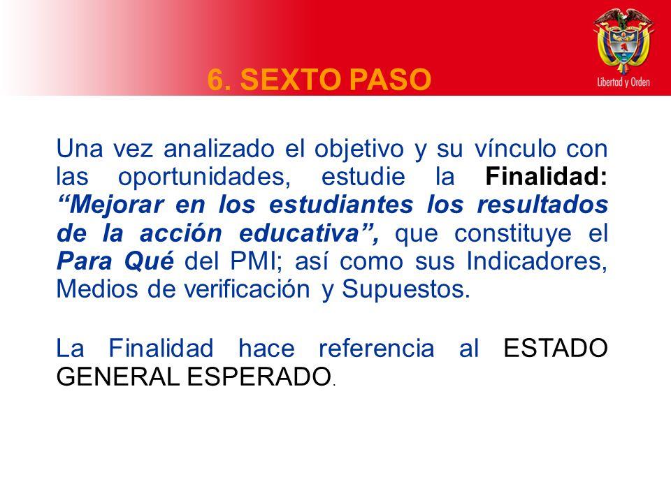6. SEXTO PASO La Finalidad hace referencia al ESTADO GENERAL ESPERADO.