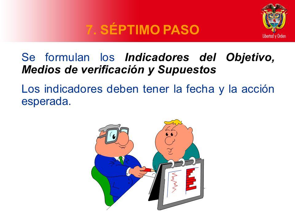 7. SÉPTIMO PASO Se formulan los Indicadores del Objetivo, Medios de verificación y Supuestos.
