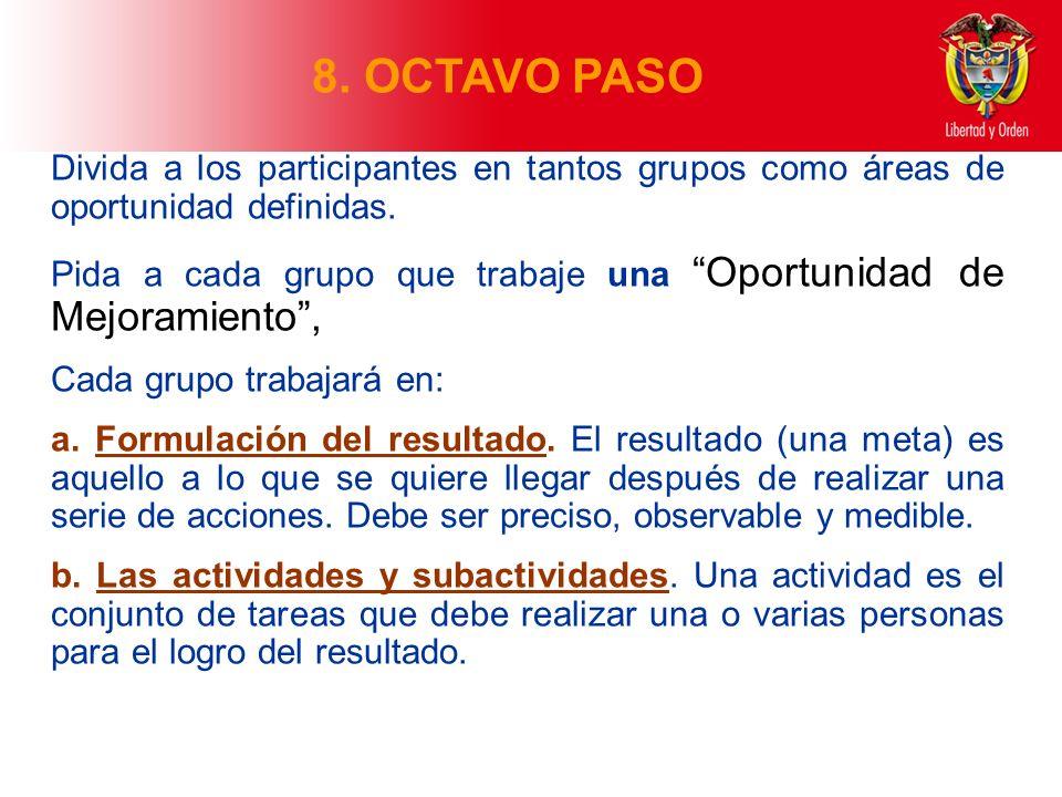 8. OCTAVO PASO Divida a los participantes en tantos grupos como áreas de oportunidad definidas.