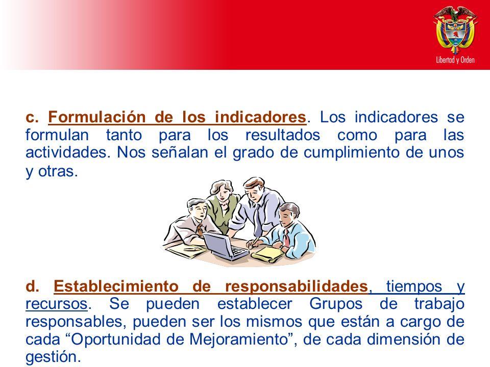 c. Formulación de los indicadores
