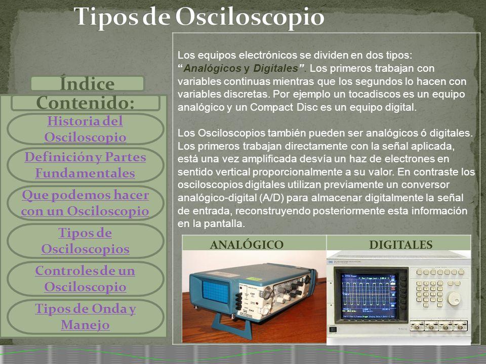 Tipos de Osciloscopio Índice Contenido: Historia del Osciloscopio
