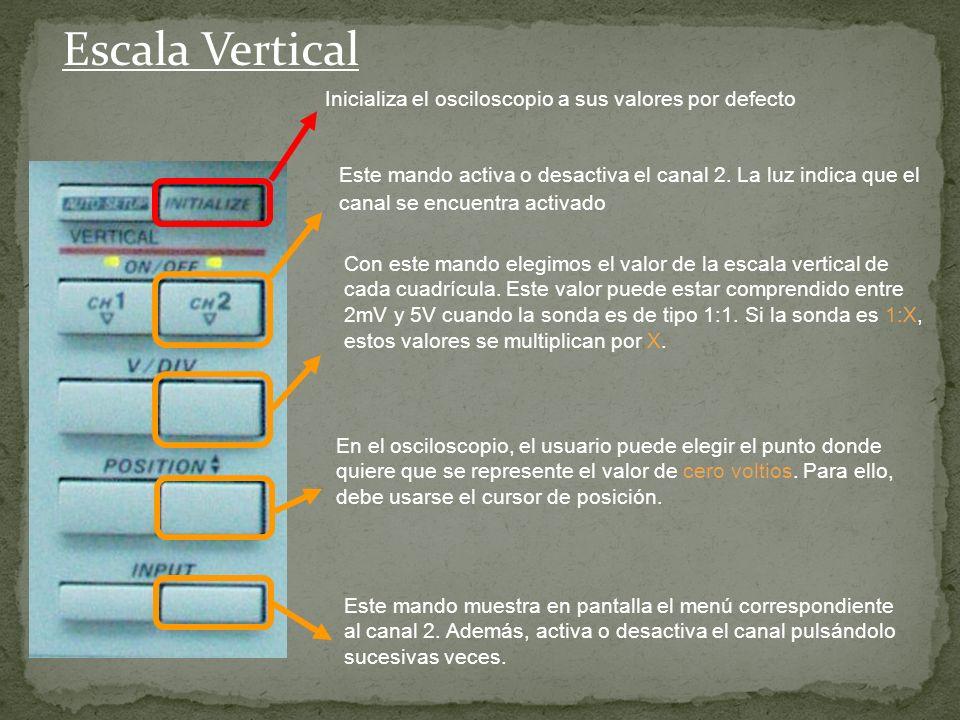 Escala Vertical Inicializa el osciloscopio a sus valores por defecto