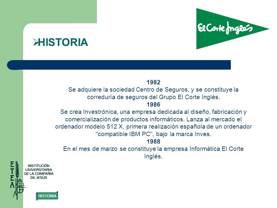 HISTORIA 1982. Se adquiere la sociedad Centro de Seguros, y se constituye la correduría de seguros del Grupo El Corte Inglés.