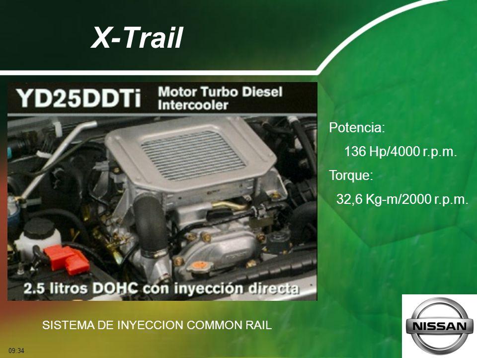 X-Trail Potencia: 136 Hp/4000 r.p.m. Torque: 32,6 Kg-m/2000 r.p.m.