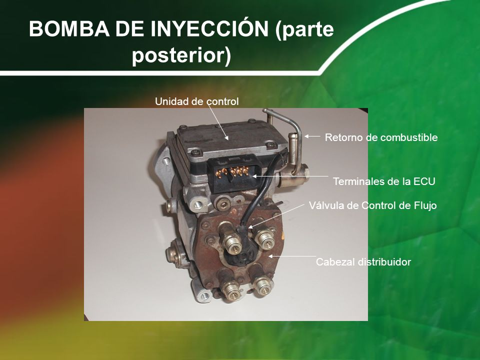 BOMBA DE INYECCIÓN (parte posterior)
