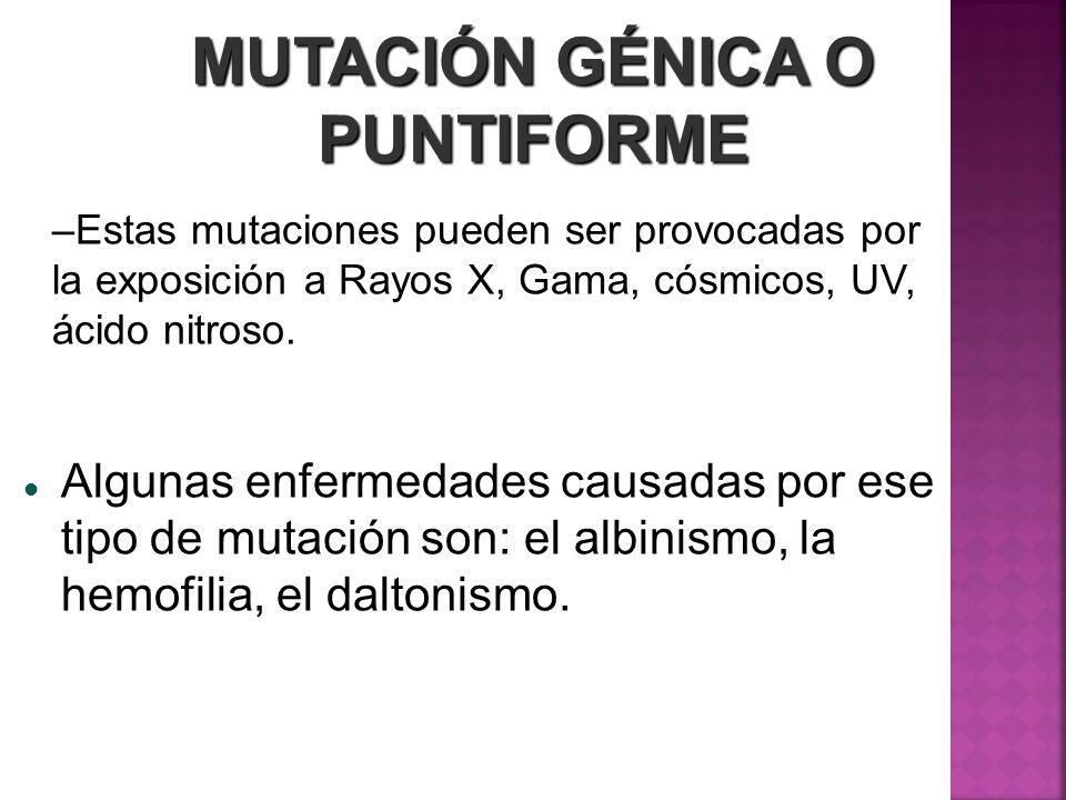MUTACIÓN GÉNICA O PUNTIFORME