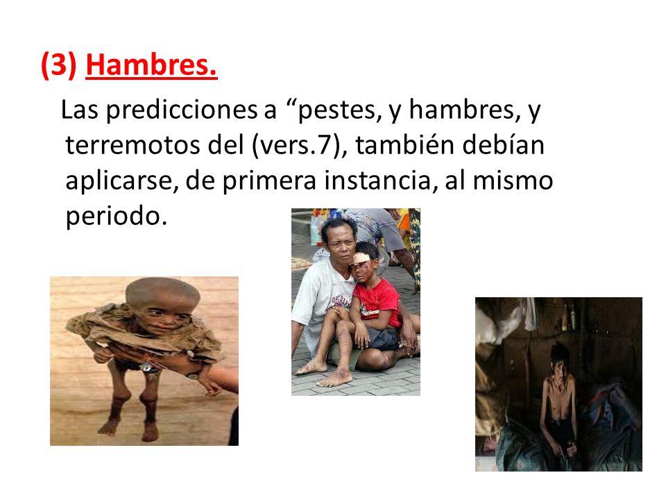 (3) Hambres.Las predicciones a pestes, y hambres, y terremotos del (vers.7), también debían aplicarse, de primera instancia, al mismo periodo.