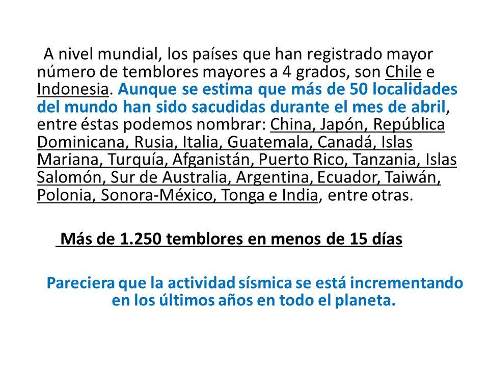 A nivel mundial, los países que han registrado mayor número de temblores mayores a 4 grados, son Chile e Indonesia.