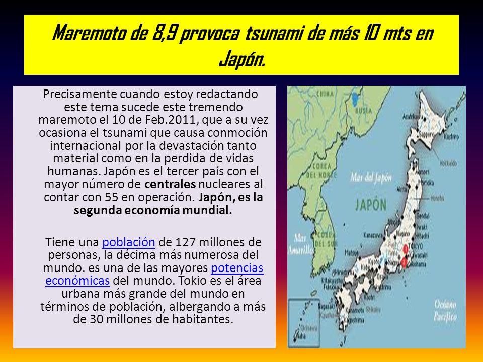 Maremoto de 8,9 provoca tsunami de más 10 mts en Japón.