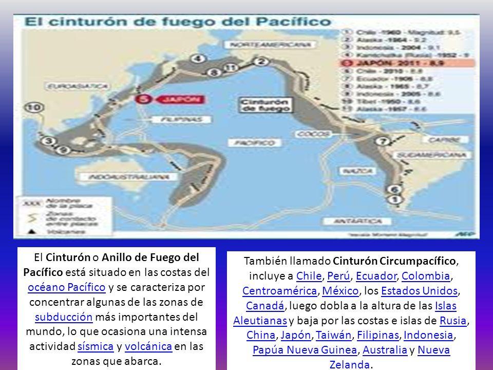 El Cinturón o Anillo de Fuego del Pacífico está situado en las costas del océano Pacífico y se caracteriza por concentrar algunas de las zonas de subducción más importantes del mundo, lo que ocasiona una intensa actividad sísmica y volcánica en las zonas que abarca.
