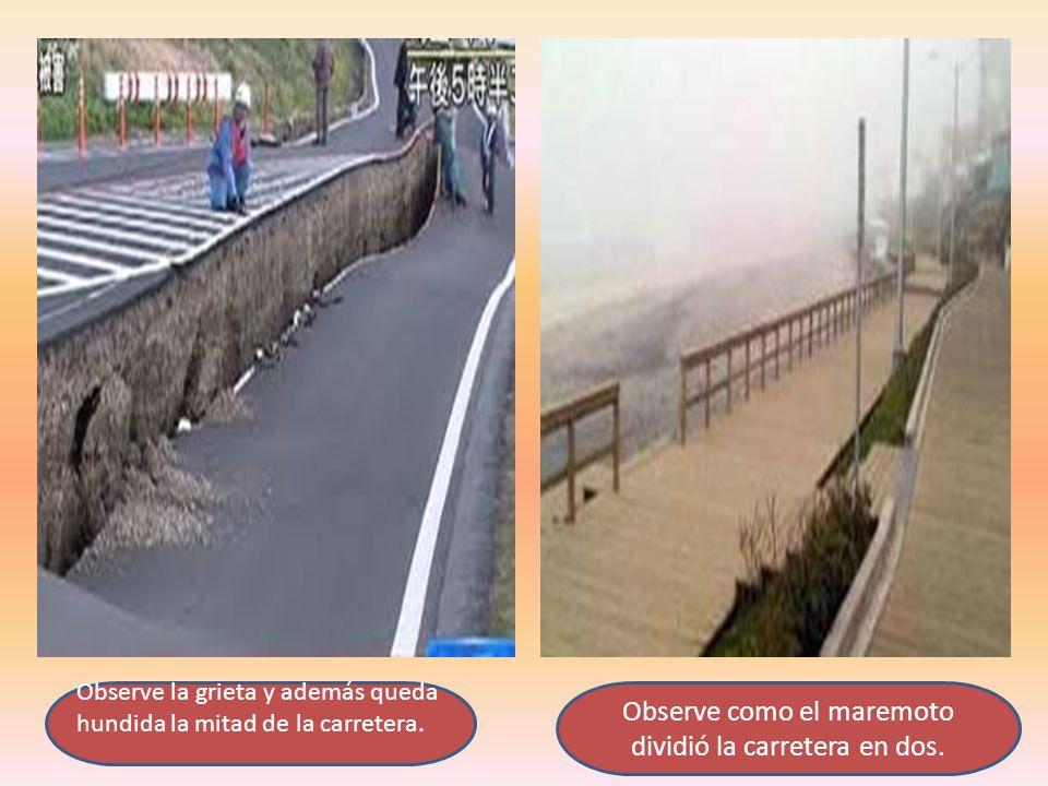 Observe como el maremoto dividió la carretera en dos.