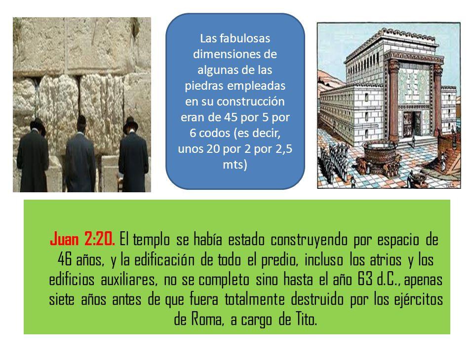 Las fabulosas dimensiones de algunas de las piedras empleadas en su construcción eran de 45 por 5 por 6 codos (es decir, unos 20 por 2 por 2,5 mts)