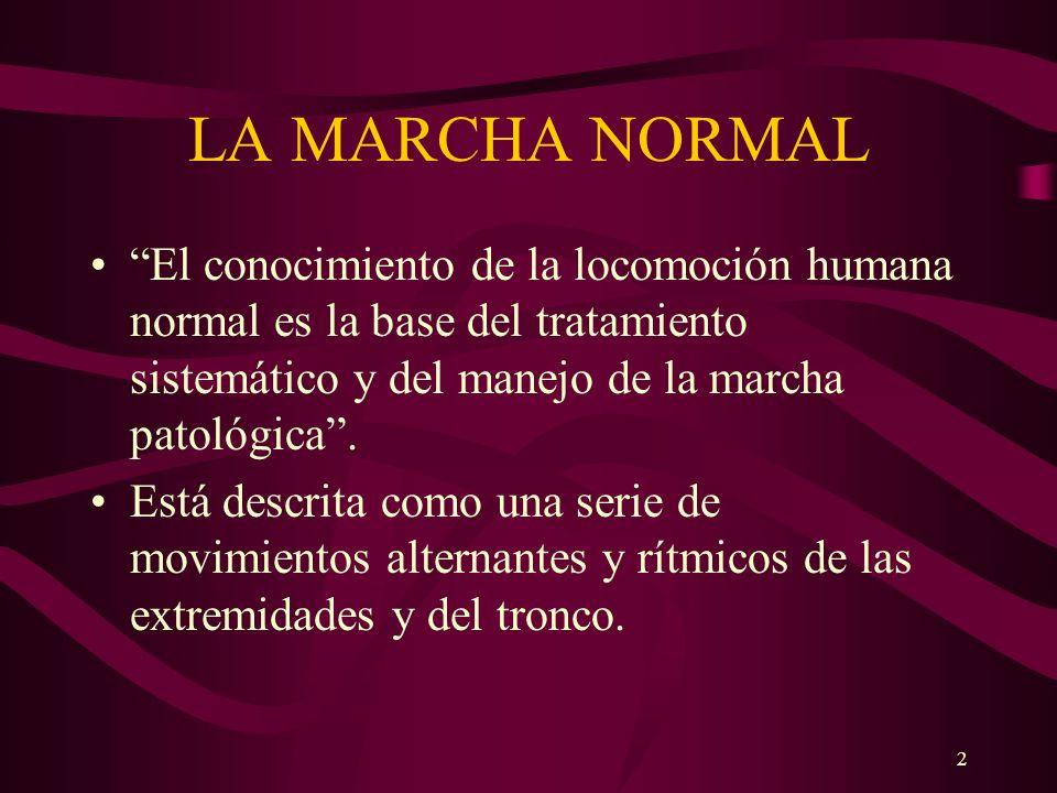 LA MARCHA NORMAL El conocimiento de la locomoción humana normal es la base del tratamiento sistemático y del manejo de la marcha patológica .