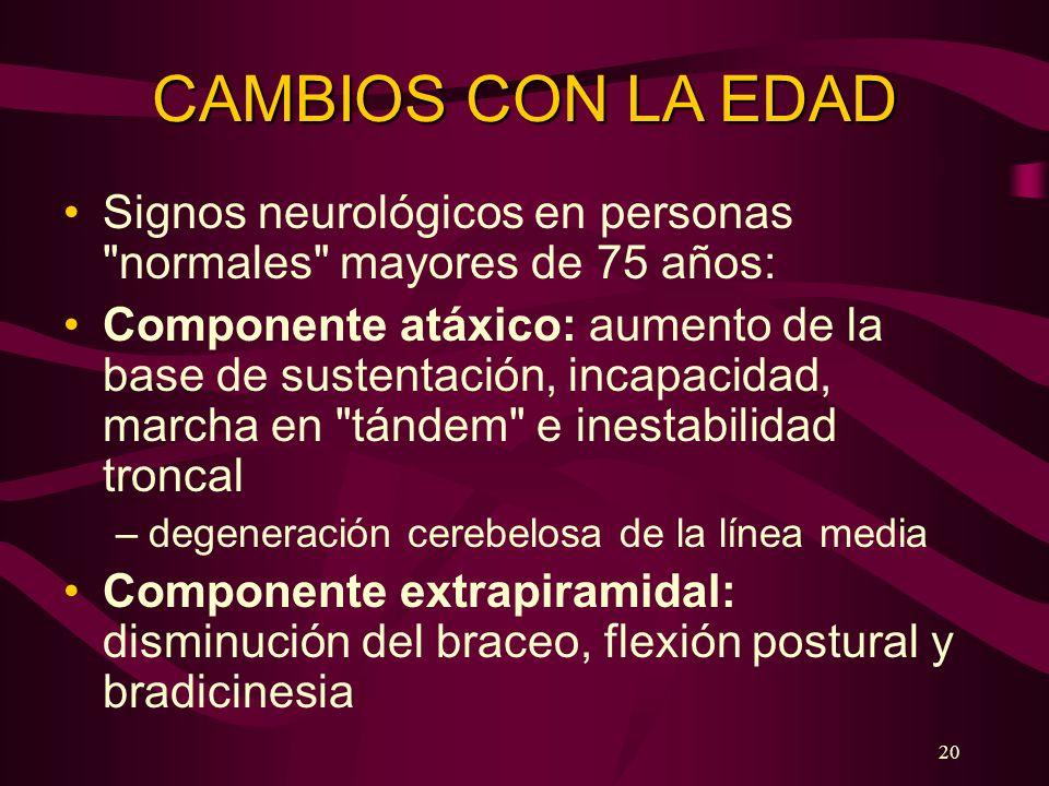 CAMBIOS CON LA EDAD Signos neurológicos en personas normales mayores de 75 años: