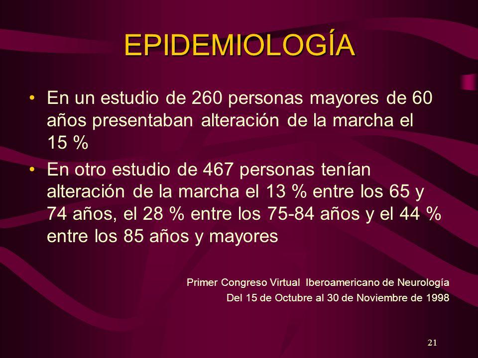 EPIDEMIOLOGÍAEn un estudio de 260 personas mayores de 60 años presentaban alteración de la marcha el 15 %