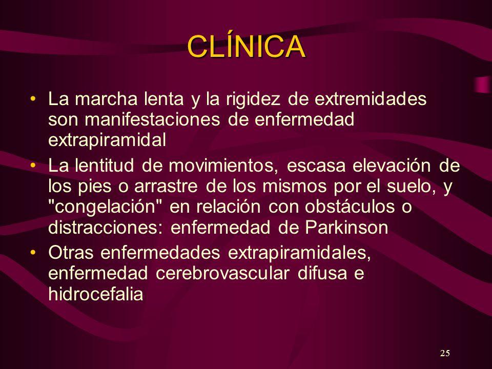 CLÍNICA La marcha lenta y la rigidez de extremidades son manifestaciones de enfermedad extrapiramidal.