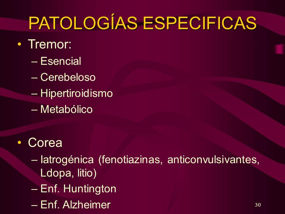 PATOLOGÍAS ESPECIFICAS
