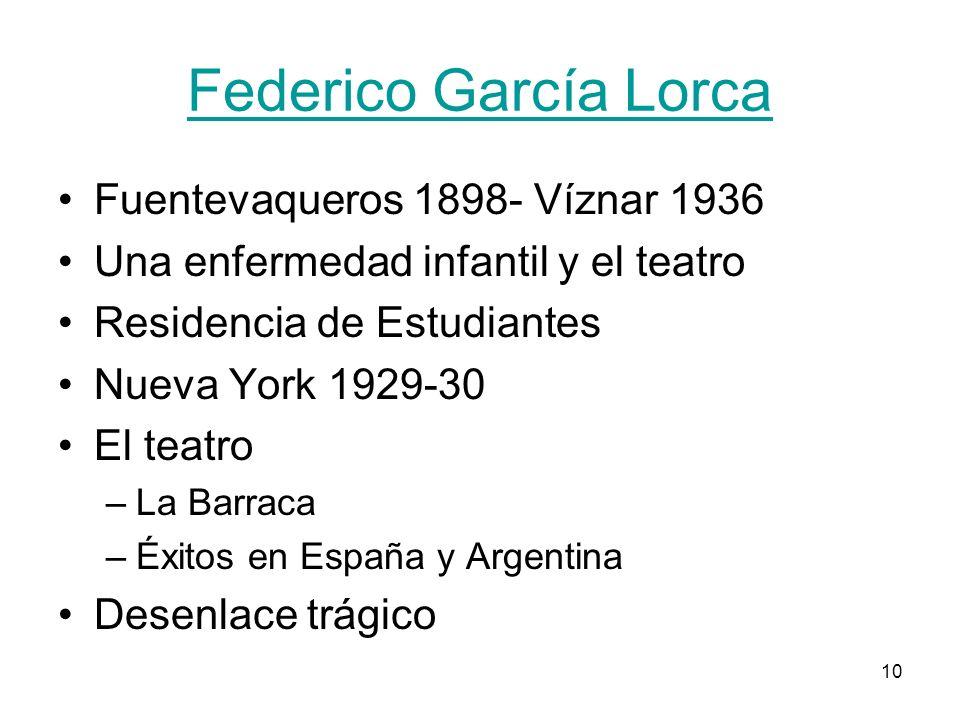 Federico García Lorca Fuentevaqueros 1898- Víznar 1936