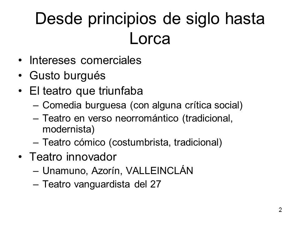Desde principios de siglo hasta Lorca