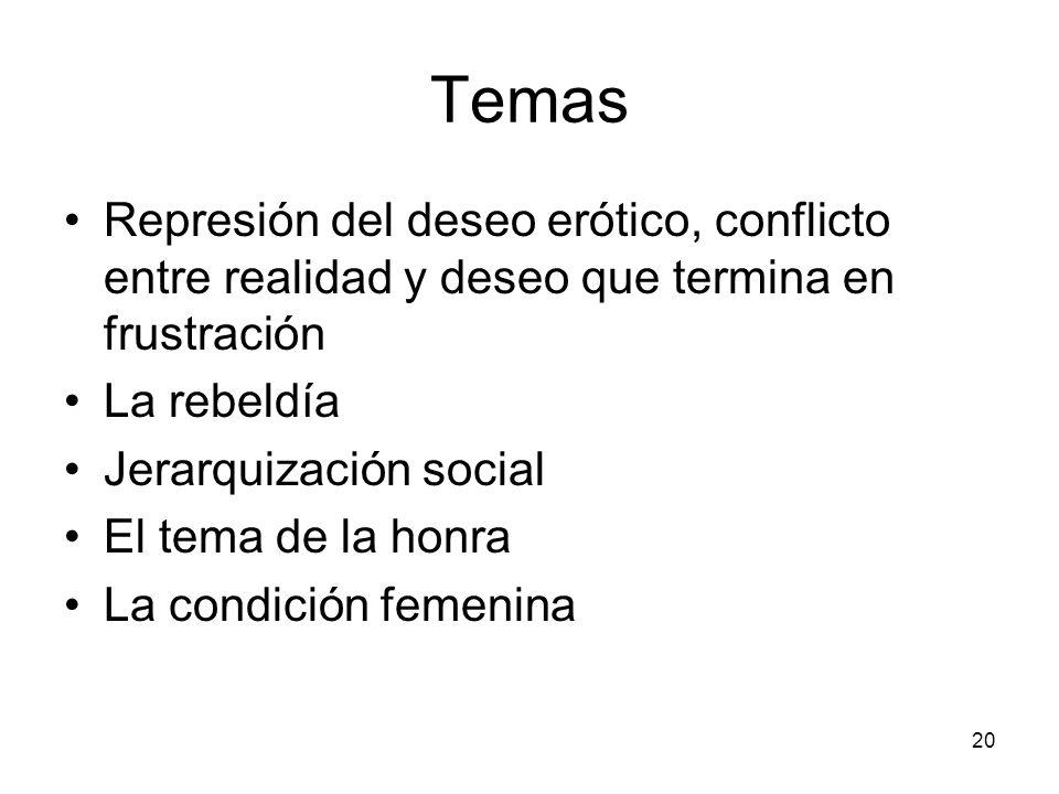 Temas Represión del deseo erótico, conflicto entre realidad y deseo que termina en frustración. La rebeldía.