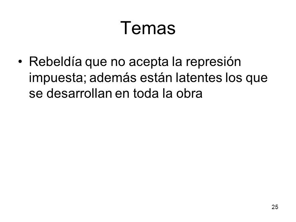 Temas Rebeldía que no acepta la represión impuesta; además están latentes los que se desarrollan en toda la obra.