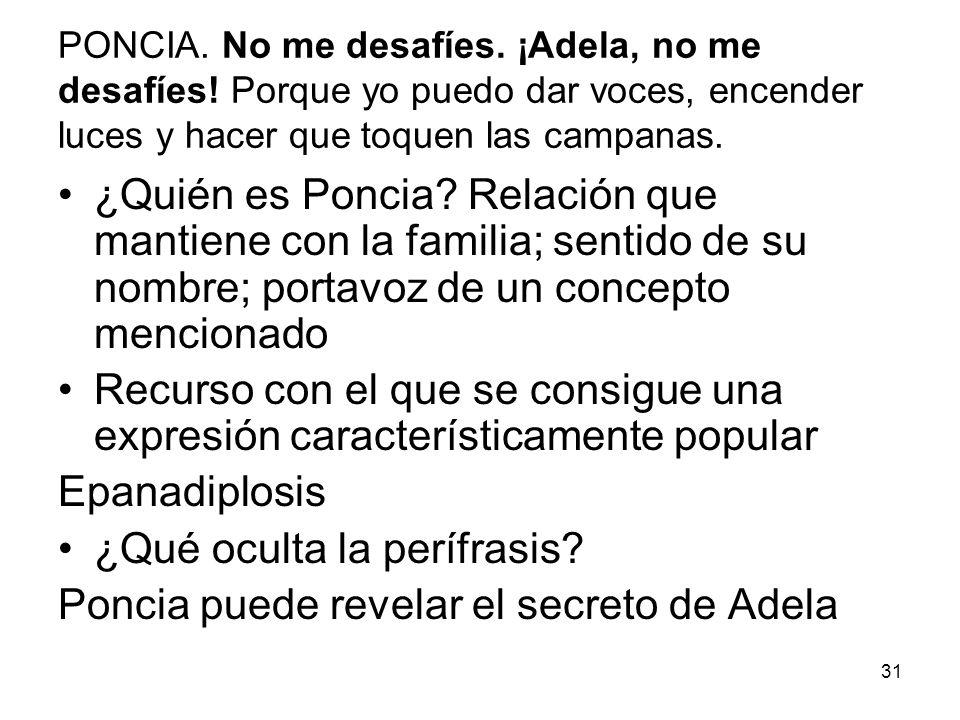 ¿Qué oculta la perífrasis Poncia puede revelar el secreto de Adela