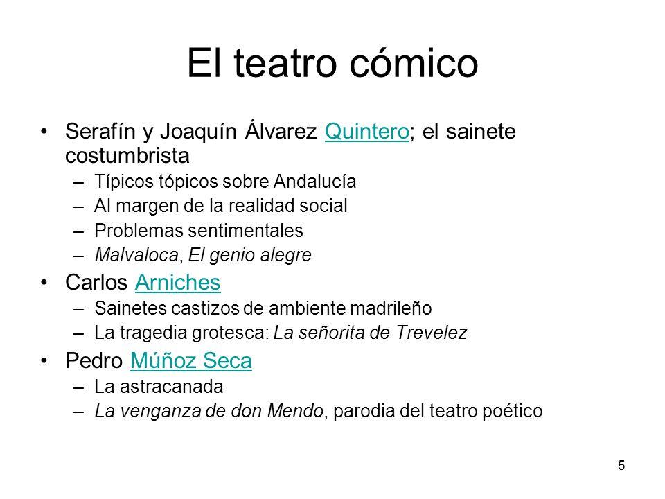 El teatro cómico Serafín y Joaquín Álvarez Quintero; el sainete costumbrista. Típicos tópicos sobre Andalucía.