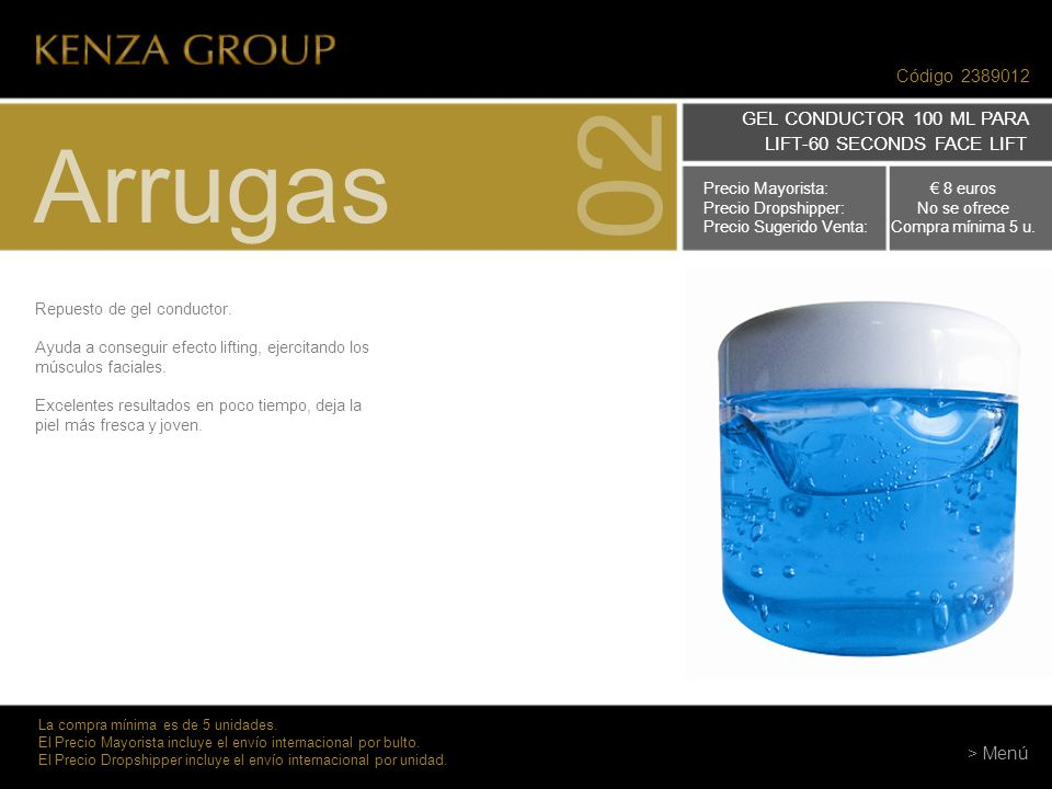 02 Arrugas GEL CONDUCTOR 100 ML PARA LIFT-60 SECONDS FACE LIFT