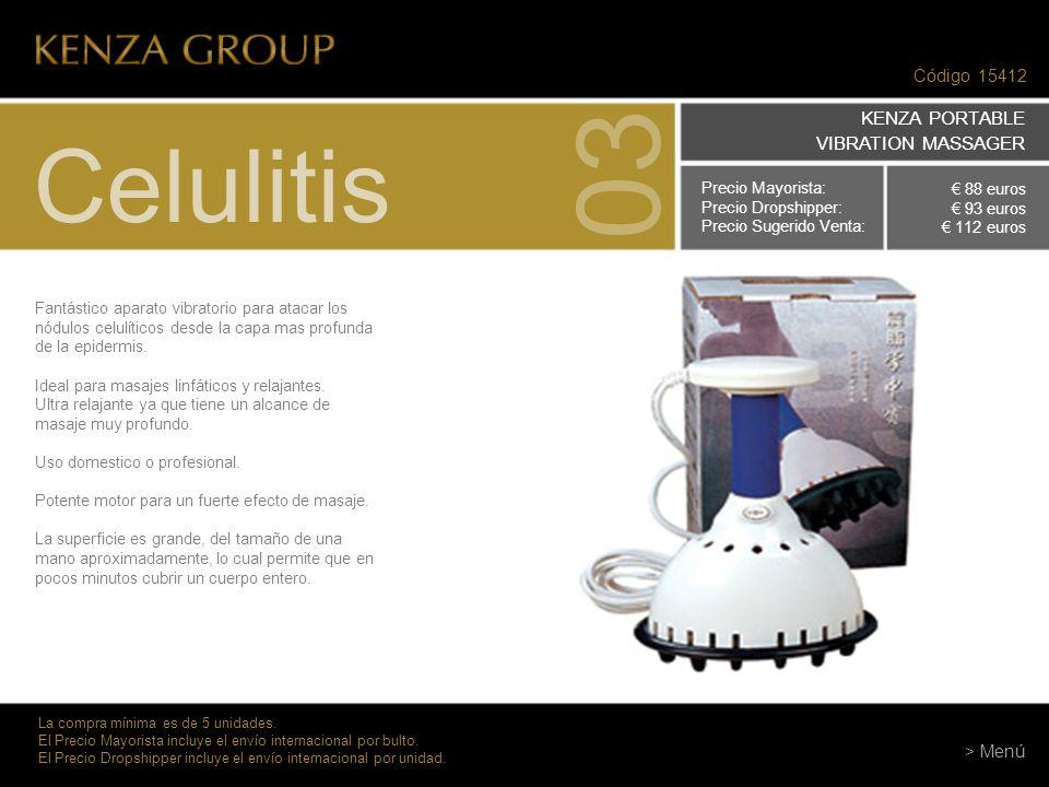 03 Celulitis KENZA PORTABLE VIBRATION MASSAGER Código 15412 > Menú