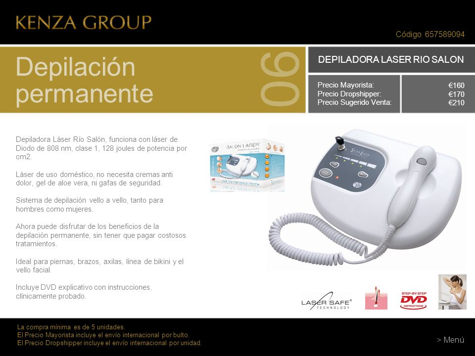 06 Depilación permanente DEPILADORA LASER RIO SALON Código 657589094