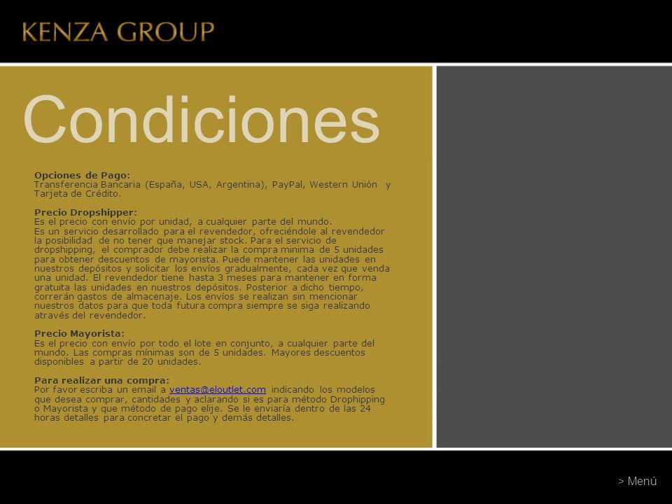 Condiciones > Menú Opciones de Pago: