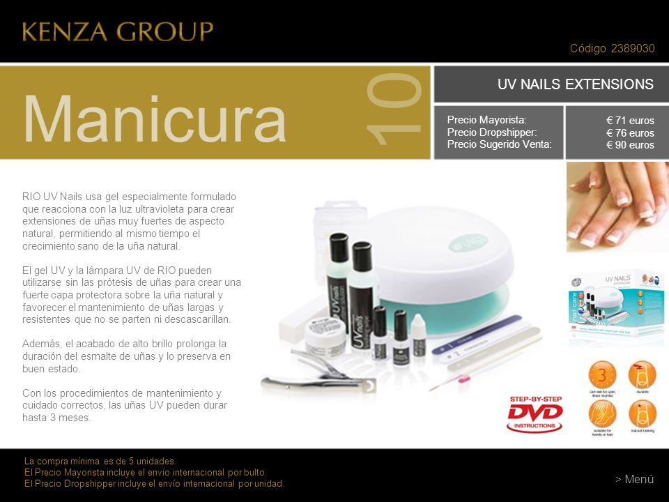 10 Manicura UV NAILS EXTENSIONS Código 2389030 > Menú