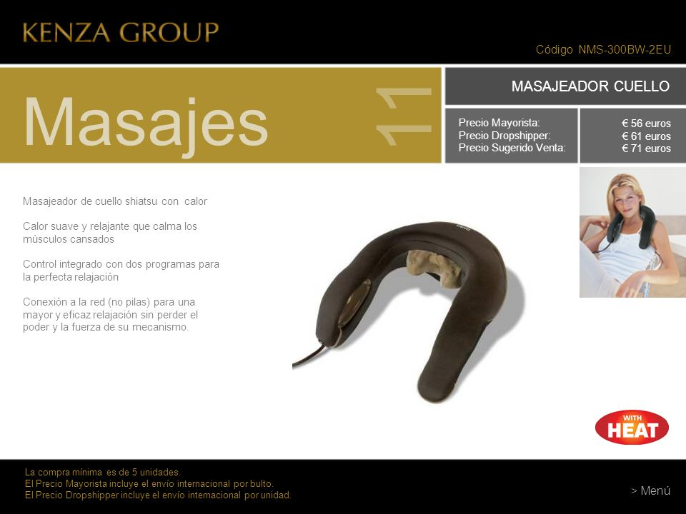 11 Masajes MASAJEADOR CUELLO Código NMS-300BW-2EU > Menú