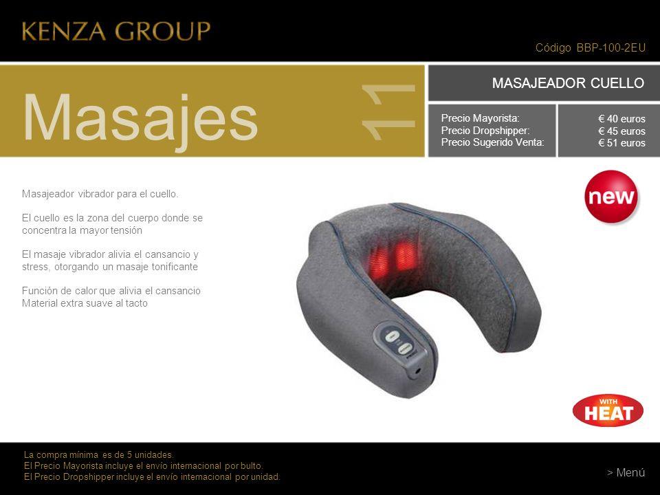 11 Masajes MASAJEADOR CUELLO Código BBP-100-2EU > Menú