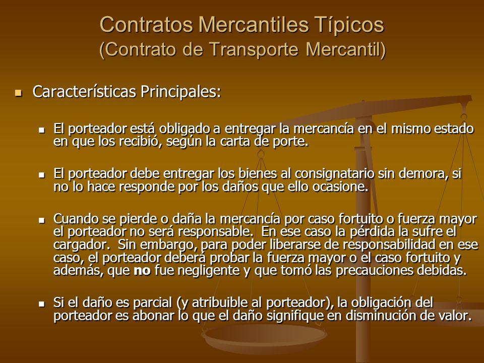 Contratos Mercantiles Típicos (Contrato de Transporte Mercantil)
