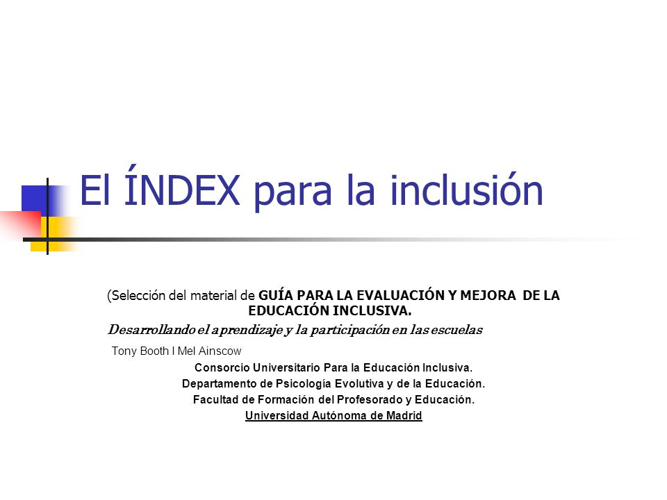 El ÍNDEX para la inclusión