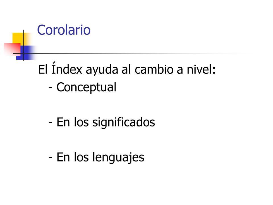 Corolario El Índex ayuda al cambio a nivel: - Conceptual